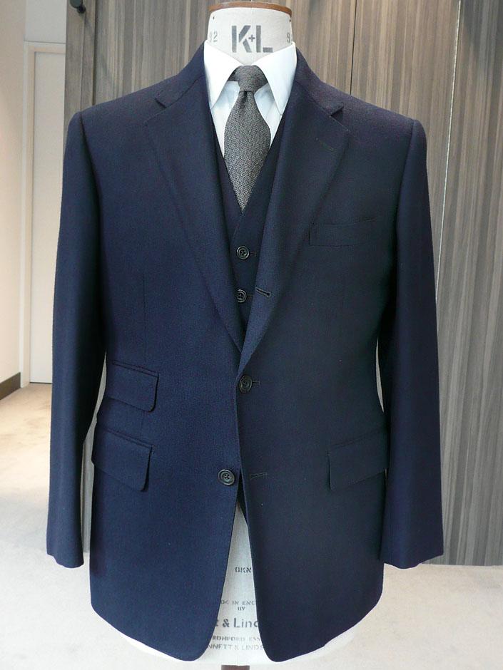 サキソニー・フランネル オリジナル服地 ネイビー 380g 3ピース 38サイズ ¥55,000