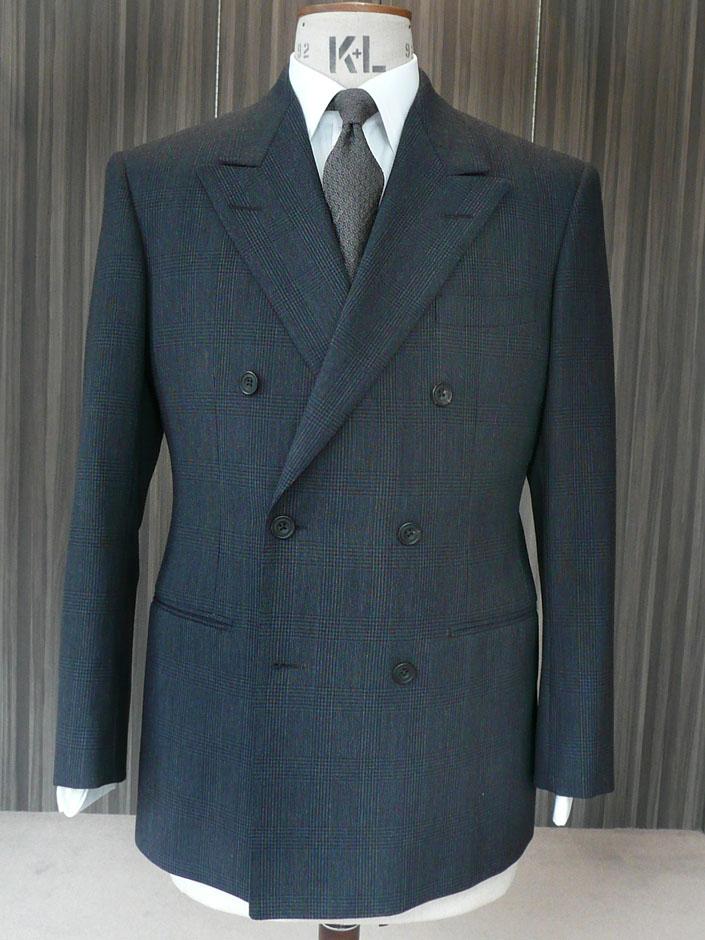 オリジナル服地 3プライ エアウーステッド ブルーグレイ 400g ダブルブレステッド 3ピース 38サイズ ¥45,000(税別)