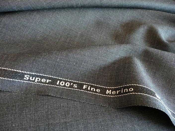 ダークグレイ グレンチェック スーパー100's 最高級メリノウール100%